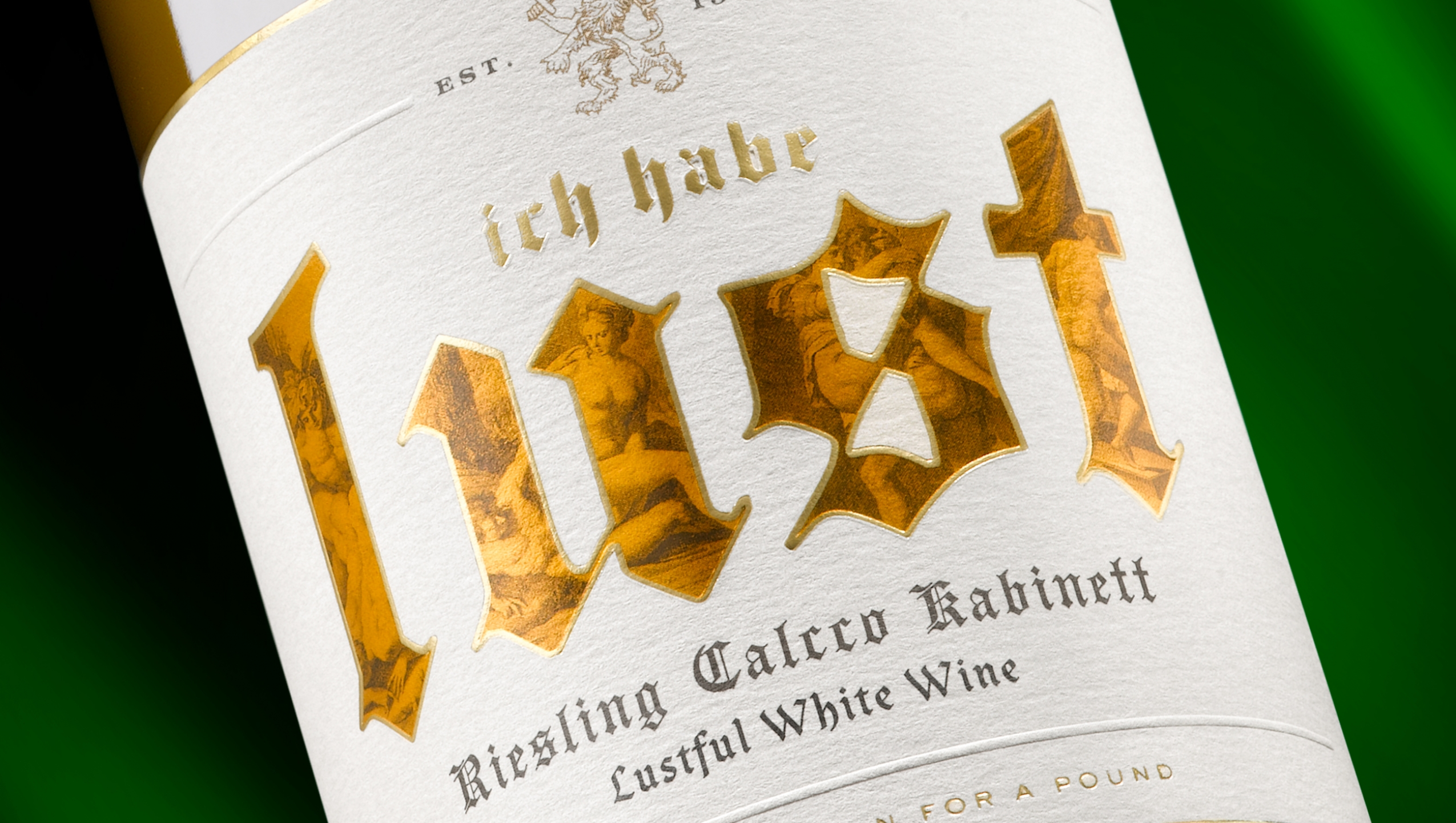 Etiqueta Lust para packaging de vino
