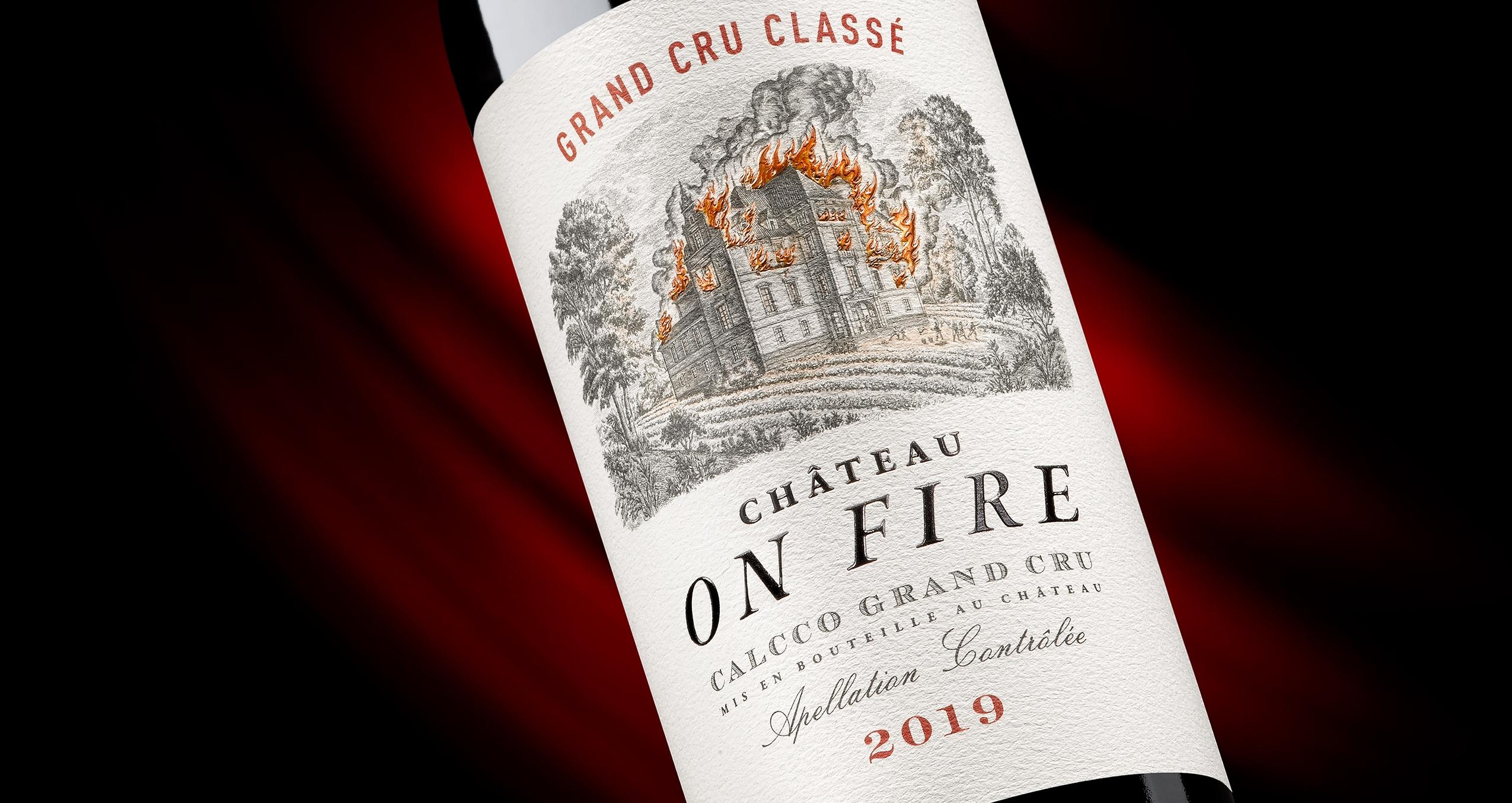 Etiqueta Chateau on Fire para packaging de vino